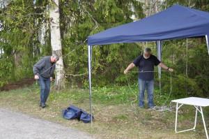 Uppsättning av tält. SM4KKL, SM4MPC.